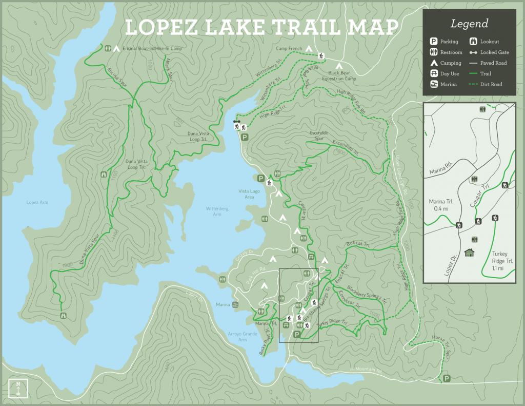 lopez lake campground map Lopez Lake Trail Map Slo County Parks lopez lake campground map